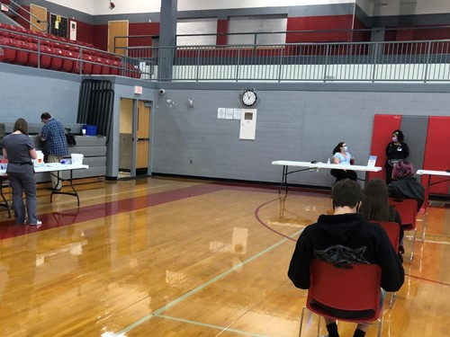 Vaccine Clinic set up in Gym